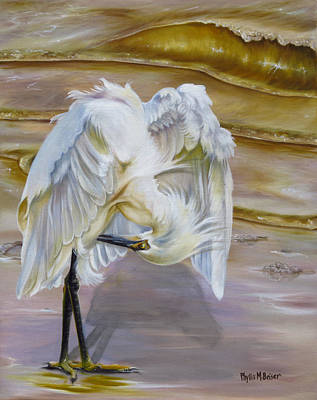 Waterfowl Painting - Brilliant White Snowy Egret by Phyllis Beiser
