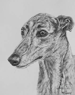 Rescued Greyhound Drawing - Brindle Greyhound Face In Profile by Kate Sumners