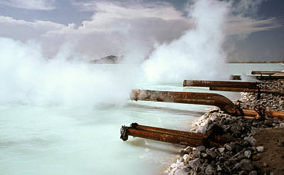 Steam Turbine Wall Art - Photograph - Brine Pond At Geothermal Power Plant by Theodore Clutter