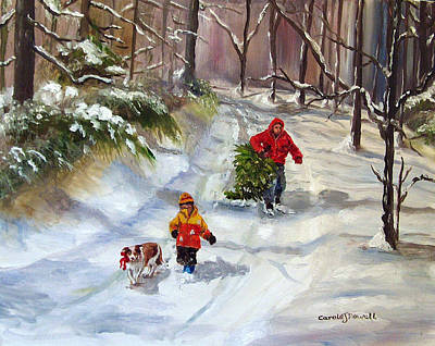 Bringing Home The Christmas Tree Art Print by Carole Powell