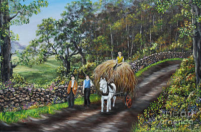 Hayrick Painting - Bringing Home The Hay by Avril Brand