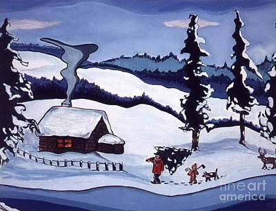 Art Print featuring the painting Bringing Home The Tree by Joyce Gebauer