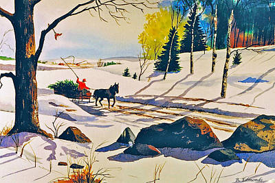Snow Scenes Painting - Bringing Home The Tree by Raymond Edmonds