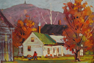 Painting - Bringing In The Firewood by Len Stomski