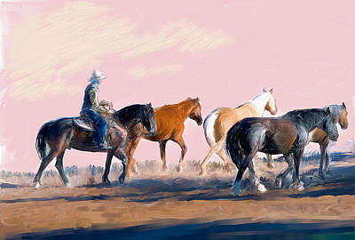 Caskey Wall Art - Painting - Bringing In The Herd by Bethany Caskey