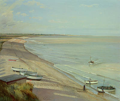 Suffolk Painting - Bringing The Catch Ashore by Timothy Easton