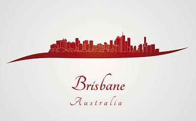 Movies Star Paintings - Brisbane skyline in red by Pablo Romero