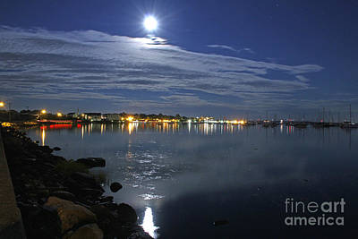 Photograph - Bristol Harbor And The Thunder Moon II by Butch Lombardi