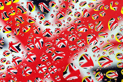 Painting - Britain Flag In Water Drops by Paul Ge