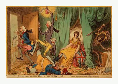 Britannia Between Death And The Doctors, Gillray, James Art Print by English School