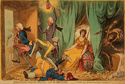 Britannia Between Death And The Doctors, Gillray, James Art Print by Litz Collection
