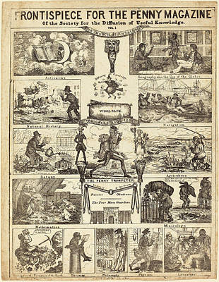 Knowledge Drawing - British 19th Century, Frontispiece For The Penny Magazine by Quint Lox