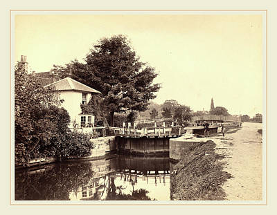 Keepers Cottage Drawing - British 19th Century, Lock-keepers Cottage And Lock Gates by Litz Collection
