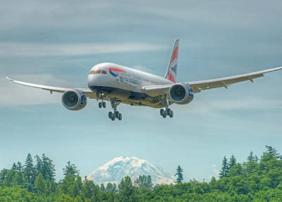 Art Print featuring the photograph British Airways 787 by Jeff Cook