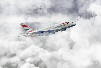 British Airways A380 Print by J Biggadike