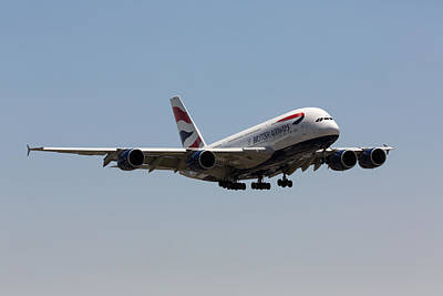 Airlines Photograph - British Airways A380 by John Daly