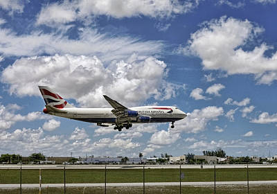 Photograph - British Airways Aircraft About To Land. Miami. Fl. U. S. A. by Juan Carlos Ferro Duque