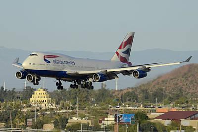Airways Photograph - British Airways Boeing 747-436 G-bnlx Landing Phoenix Sky Harbor March 10 2015 by Brian Lockett