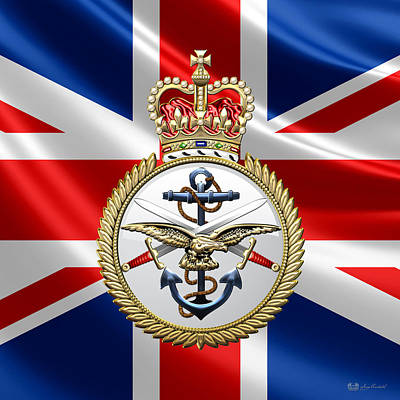 Digital Art - British Armed Forces Emblem Over Flag by Serge Averbukh
