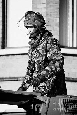 British Army Soldier In Turret Of Saxon Vehicle In Front Of Houses On Crumlin Road At Ardoyne Shops  Art Print