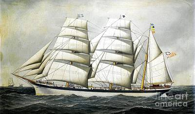 Painting - British Barque - Dunearn At Sea by Roberto Prusso