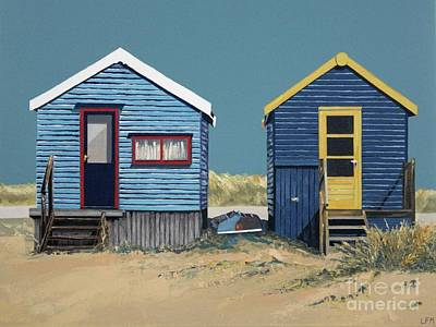 Painting - British Beach Huts by Linda Monk