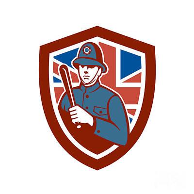 Bobby Digital Art - British Bobby Policeman Truncheon Flag Shield Retro by Aloysius Patrimonio