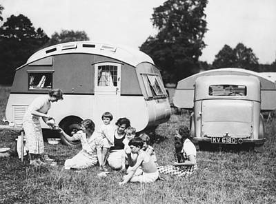 Photograph - British Caravan Campers by Underwood Archives