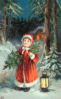 Painting - British Christmas Card by English School