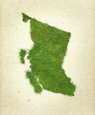 Canadian Mixed Media - British Columbia Grass Map by Aged Pixel