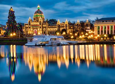 Canadian Parliament Photograph - British Columbia Parliament Christmas Lights by James Wheeler
