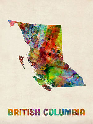 British Columbia Watercolor Map Art Print by Michael Tompsett