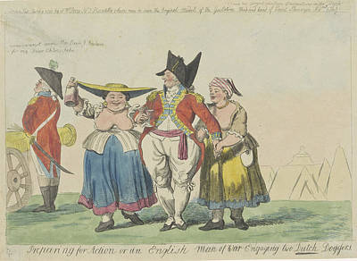 British Commander With Two Dutch Prostitutes Art Print by Isaac Cruikshank And Samuel W. Fores