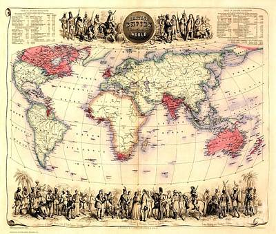 Painting - British Empire Map - 1855 by Pg Reproductions
