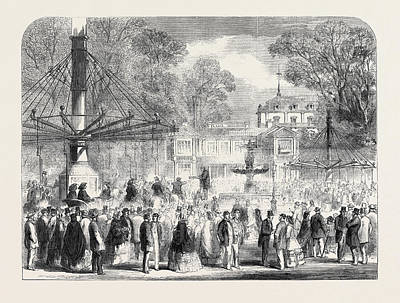 British Excursionists In The Champs Elysees The Wooden Art Print by English School