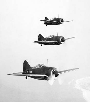 Flight Formation Photograph - British Fighter Planes by Granger