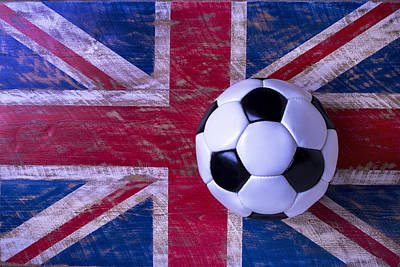 Sports Photograph - British Flag And Soccer Ball by Garry Gay