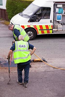 British Gas Workers Replacing Old Pipes Art Print
