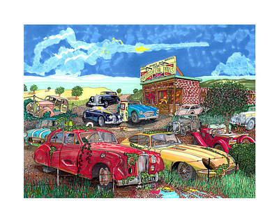 Junk Drawing - British Junkyard Field Of Dreams by Jack Pumphrey