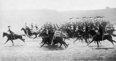 1916 Photograph - British Lancers Charging by Underwood Archives