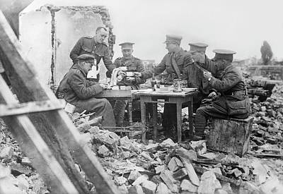 Rubble Photograph - British Officers At Lunch by Library Of Congress