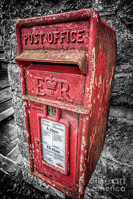 Mail Box Photograph - British Post Box by Adrian Evans
