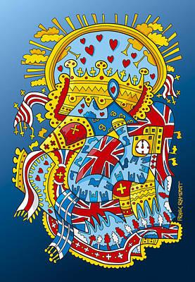 British Royal Ceremony Doodle Print by Frank Ramspott