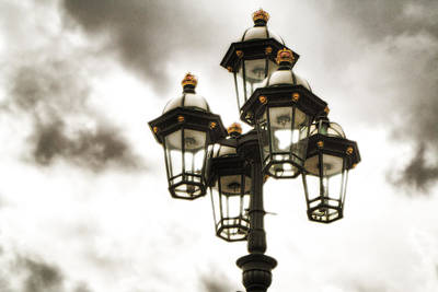 British Street Lamp Against Cloudy Sky Art Print