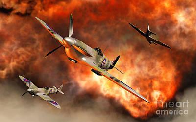 British Supermarine Spitfires Bursting Art Print by Mark Stevenson