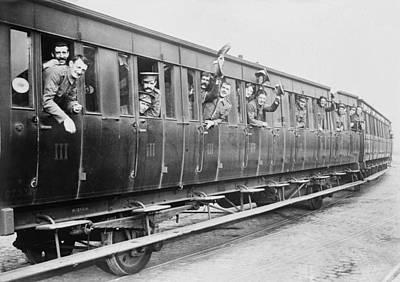British Troops On A Train Art Print