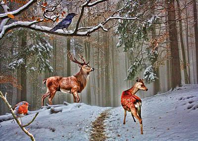 Christmas Cards Digital Art - British Woodland Animals by Sharon Lisa Clarke