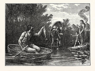 Britons With Coracle Art Print by English School