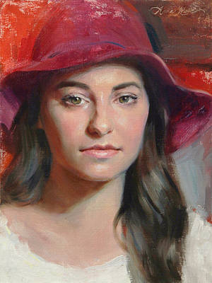 Young Woman Painting - Brittany by Anna Rose Bain