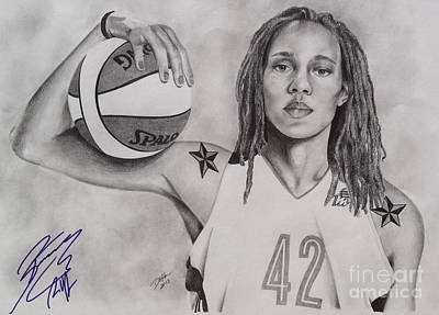 Drawing - Brittney Griner Strength by Devin Millington